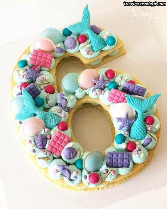 تزیین کیک بیسکویت تم آبی