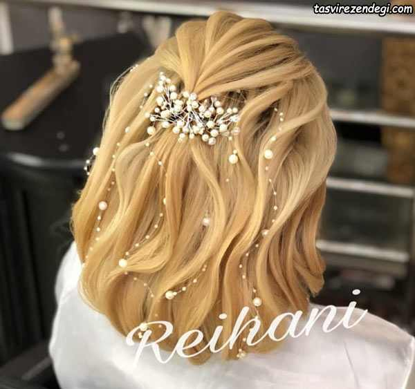 مدل شینیون خطی موی کوتاه