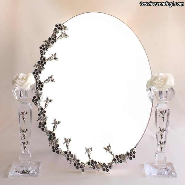 مدل آینه شمعدان نقره