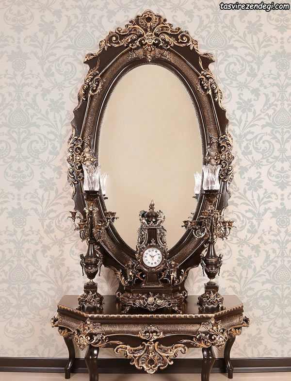 مدل آینه شمعدان کنسول برنزی