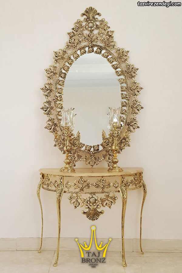 مدل آینه شمعدان کنسول طلایی