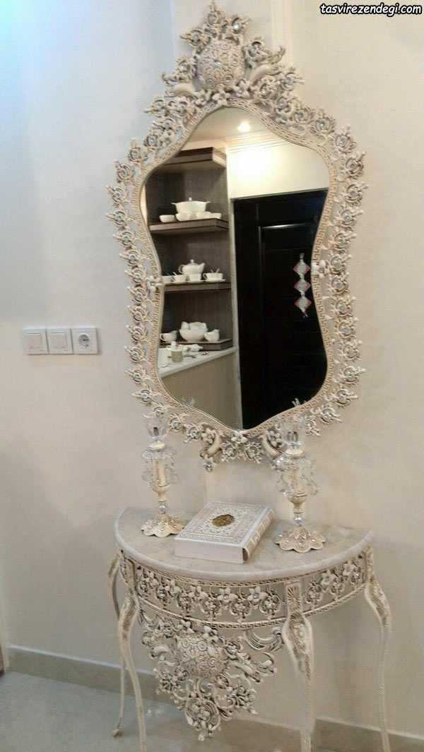 مدل آینه شمعدان کنسول سفید عروس