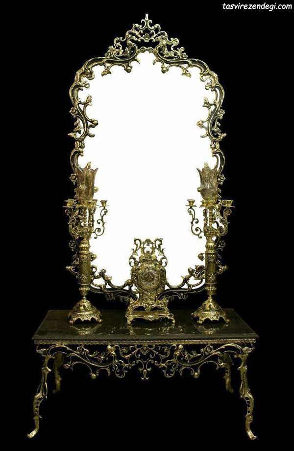 مدل آینه شمعدان سلطنتی طلایی رنگ