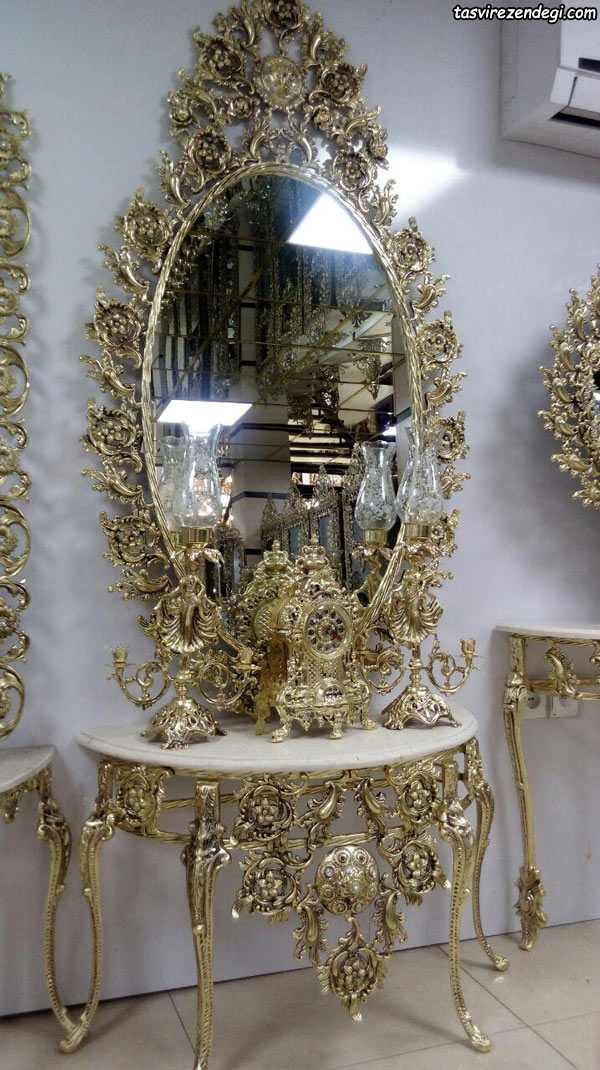 مدل آینه شمعدان کنسول طلایی رنگ سلطنتی