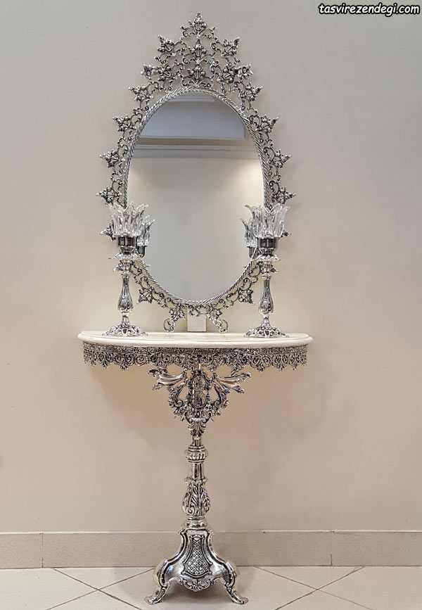 مدل آینه شمعدان کنسول نقره ای