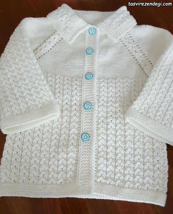 ژاکت بچگانه میل بافی سفید