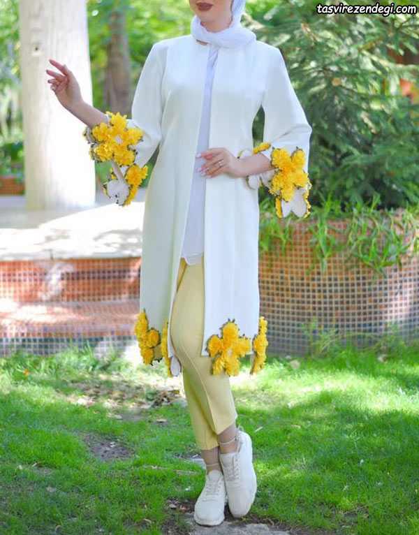 مدل مانتو برای عید سفید گل زرد