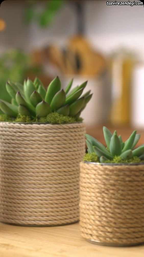 روش تزیین گلدان ساده با طناب کنفی