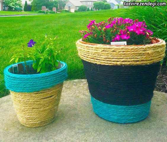 تزیین گلدان با طناب