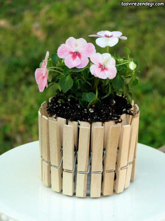 تزیین گلدان با گیره لباس