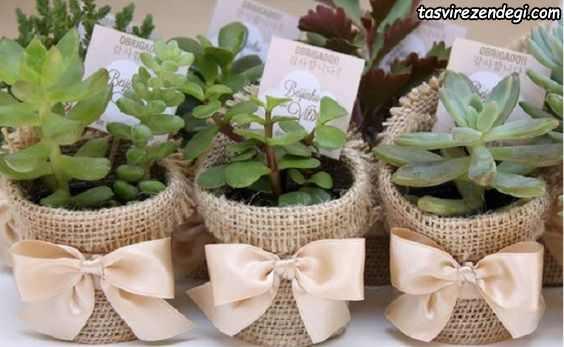 تزیین گلدان با پارچه کنفی