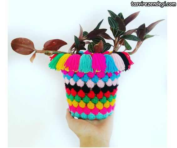 تزیین گلدان با قلاب بافی