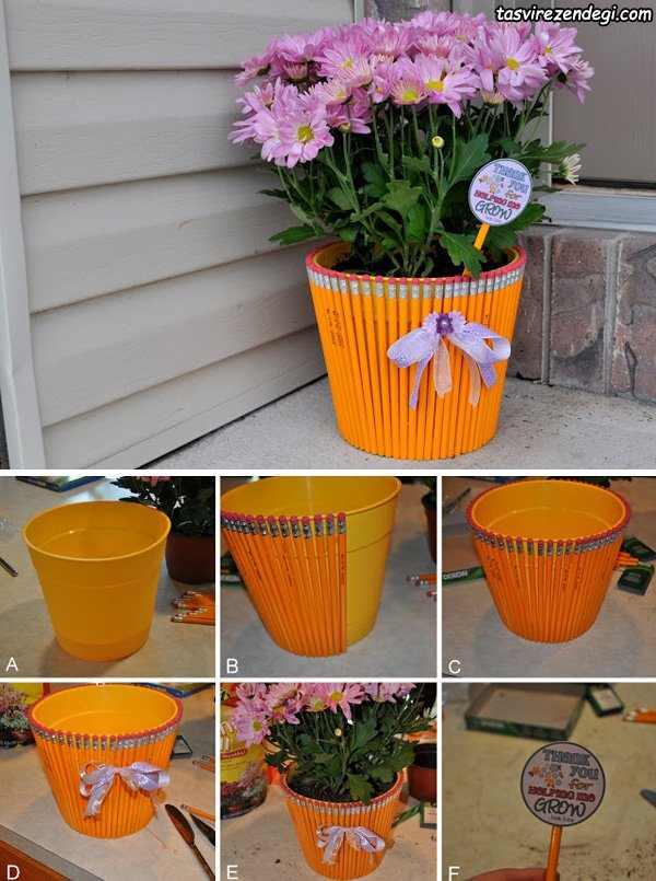 روش تزیین گلدان ساده با مداد