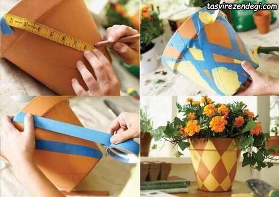 تزیین گلدان با رنگ کردن