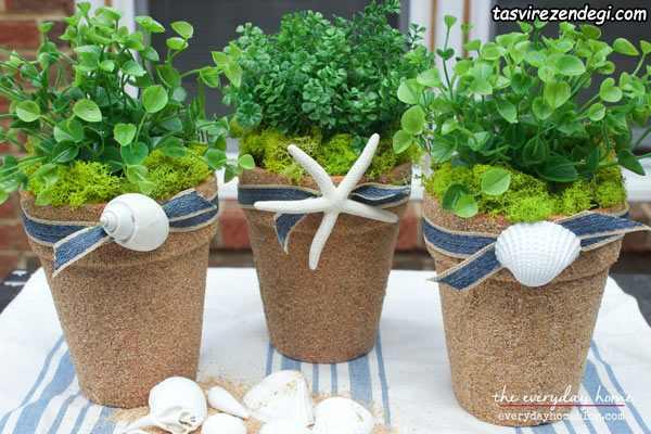 تزیین گلدان با شن ساحلی
