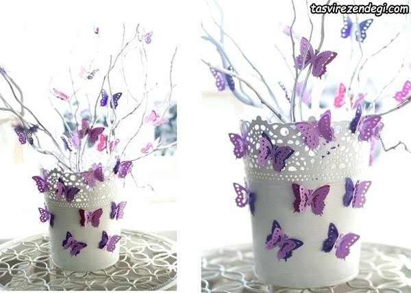 تزیین گلدان با پروانه های کاغذی