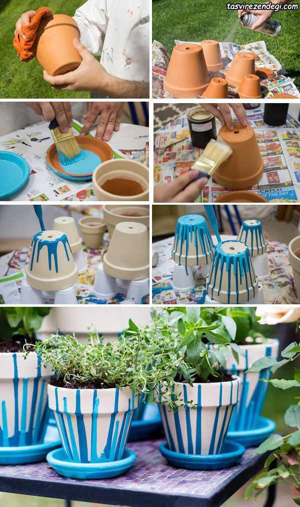 تزیین گلدان رنگ کردن