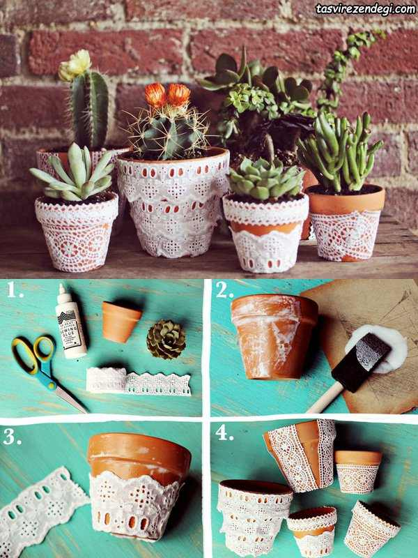 تزیین گلدان با تور گیپور
