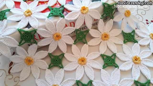 آموزش بافت رومیزی گل یاس سفید