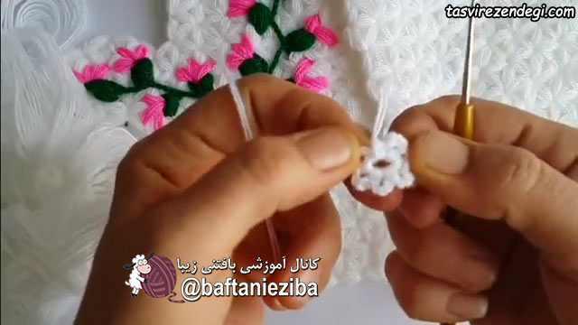 آموزش بافت گل لیف یک انگشتی