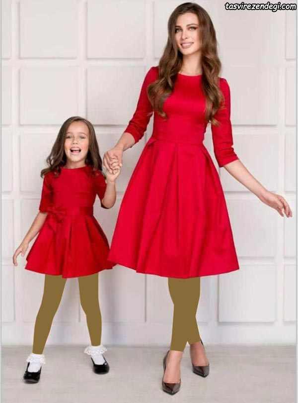 لباس مجلسی قرمز ست مادر و دختر