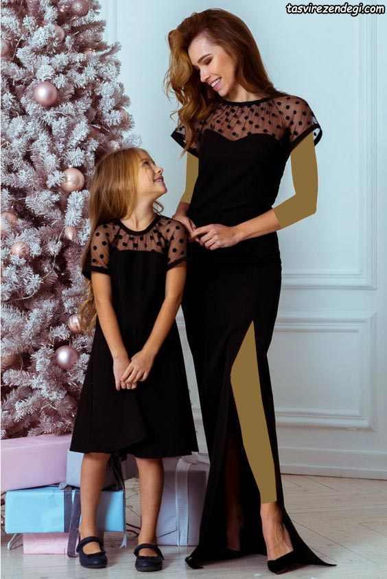 لباس مجلسی مشکی ست مادر و دختر