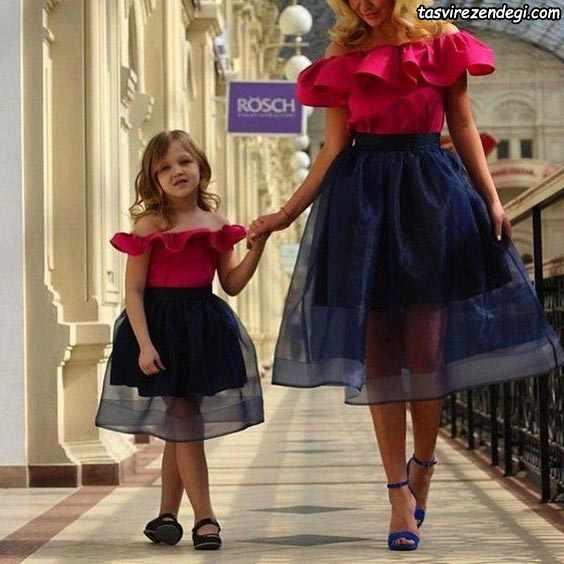 لباس مجلسی کوتاه ست مادر دختر