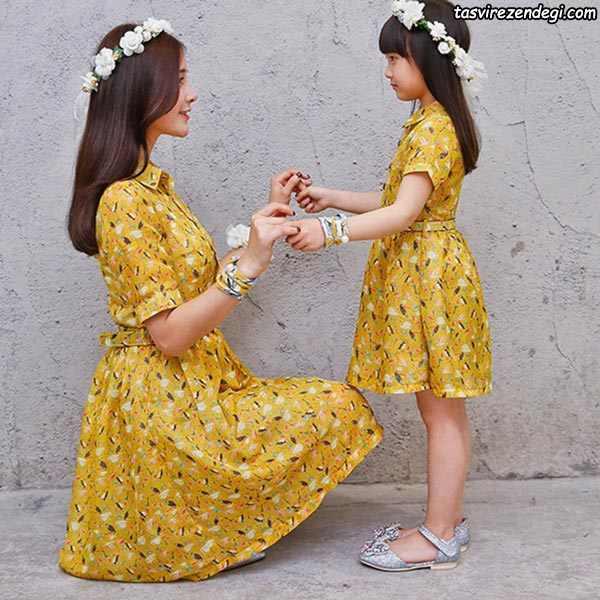 پیراهن گلدار تابستانی ست مادر دختر