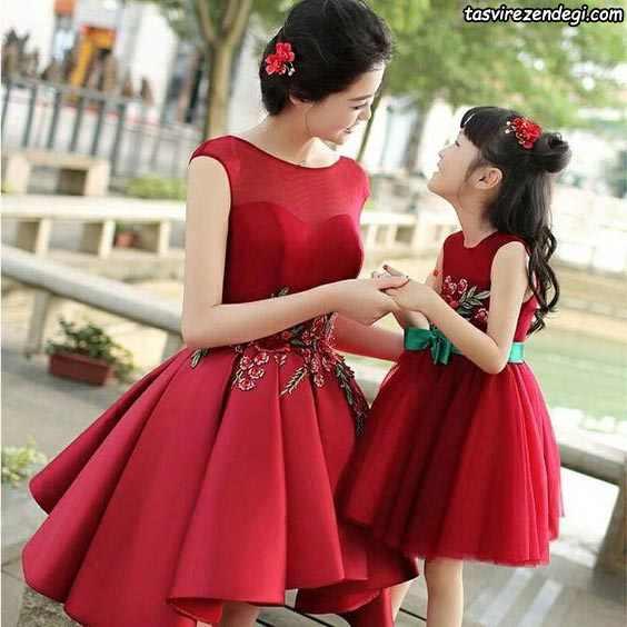 پیراهن کوتاه قرمز ست مادر دختر مجلسی