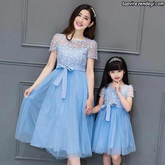 پیراهن آبی ست مادر دختر مجلسی
