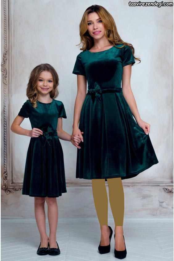 ست مادر دختر مخمل سبز تیره