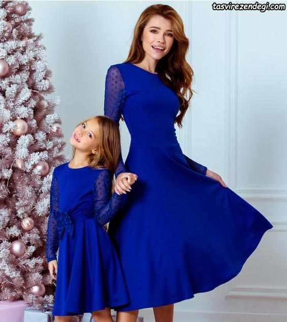 پیراهن ست مادر دختر آبی تیره