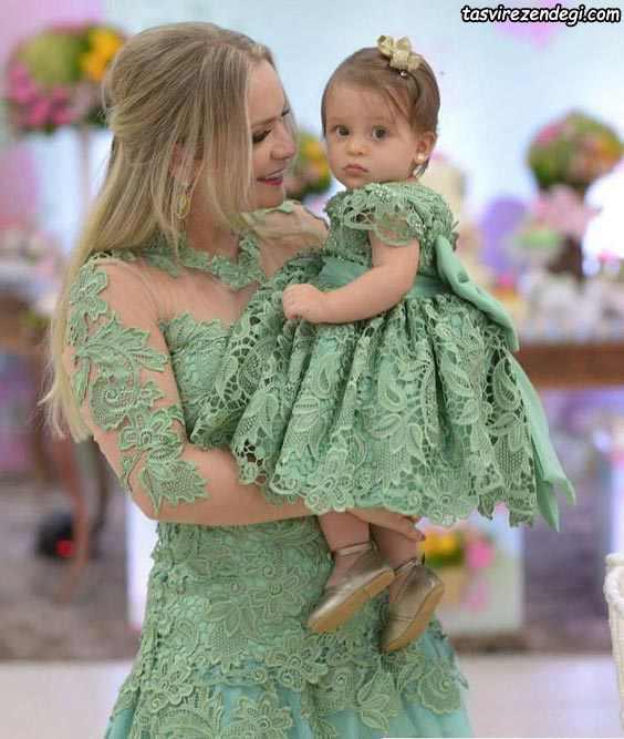 پیراهن گیپور ست مادر و دختر