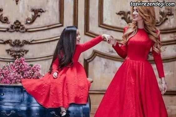 ست مادر دختر مجلسی قرمز