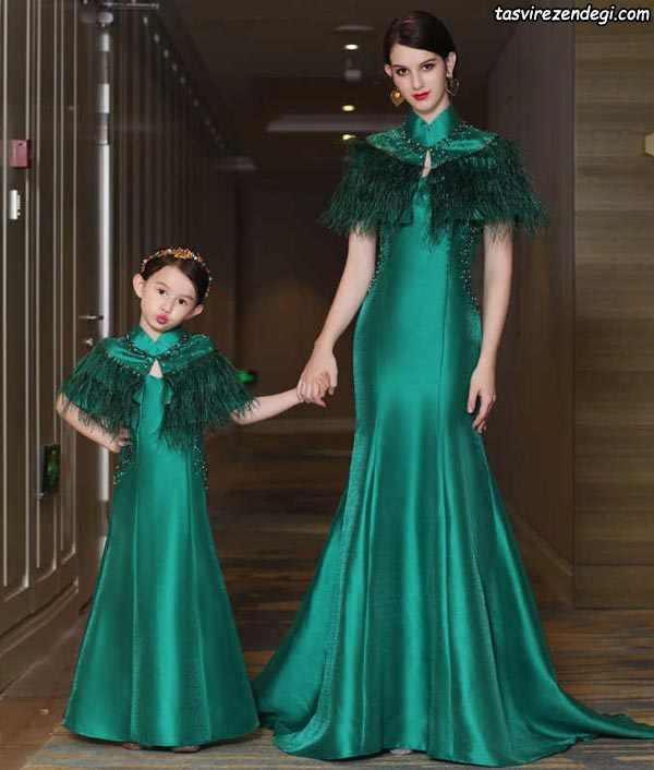 پیراهن بلند سبز ست مادر دختر مجلسی