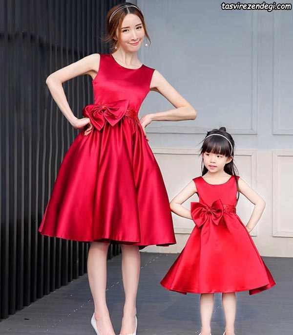 پیراهن ست مادر دختر مجلسی قرمز ساتن