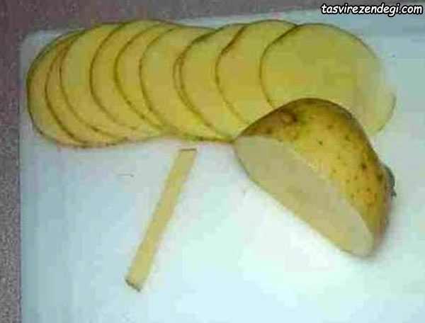 تزیین سیب زمینی به شکل رز