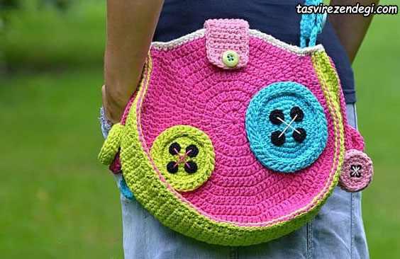 مدل کیف دخترانه بافتنی گرد