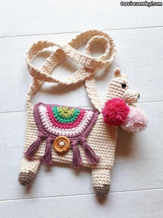 مدل کیف دخترانه بافتنی طرح سگ