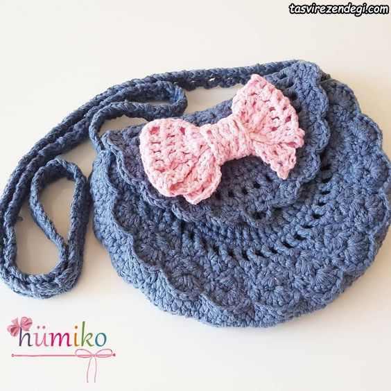 مدل کیف دخترانه بافتنی آبی