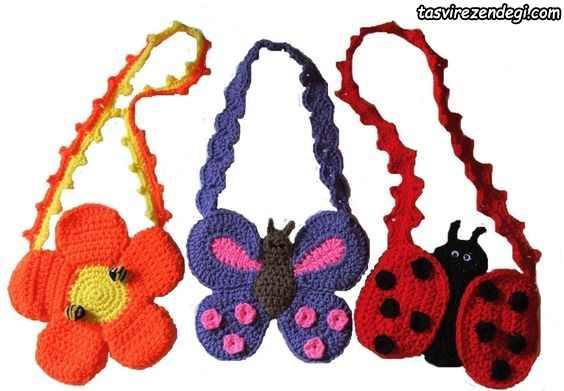 مدل کیف دخترانه بافتنی طرح پروانه