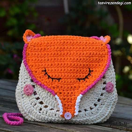 مدل کیف دخترانه بافتنی روباه