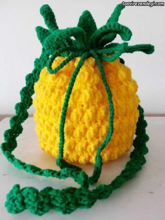مدل کیف دخترانه بافتنی آناناس