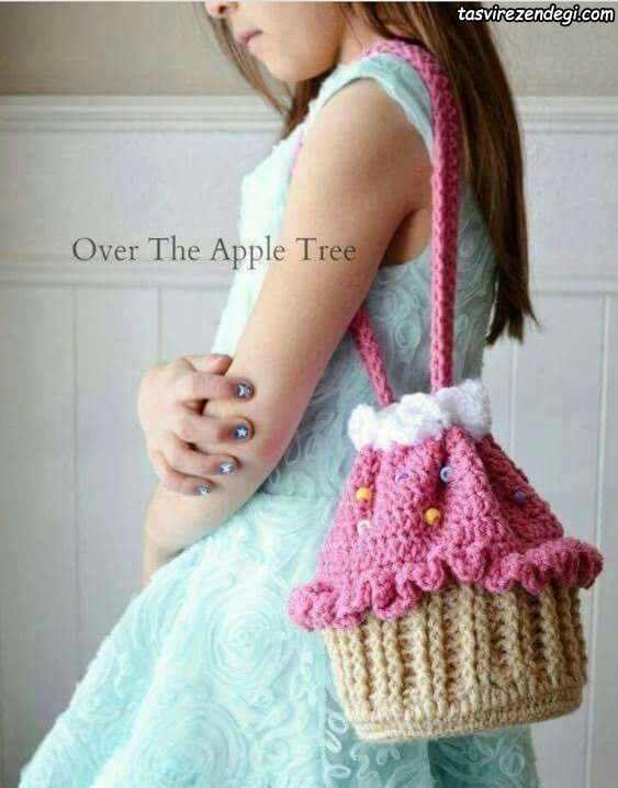 مدل کیف دخترانه بافتنی طرح بستنی