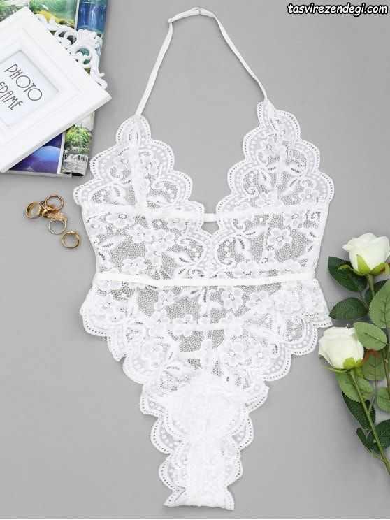 مدل لباس زیر زنانه شورت سوتین تور دانتل سفید عروس