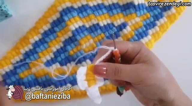 آموزش بافت رومیزی لوزی قلاب بافی