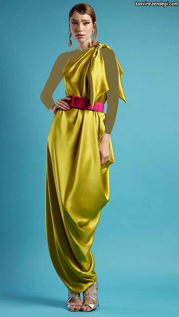 لباس مجلسی رومی یقه یک طرفه طلایی