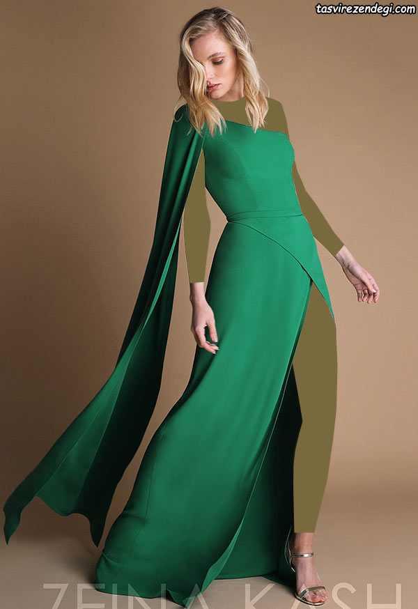 لباس مجلسی رومی یقه یکطرفه والان دار سبز
