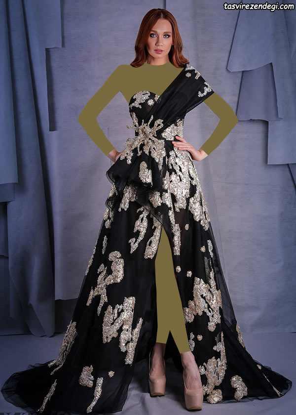 لباس مجلسی رومی یقه یکطرفه