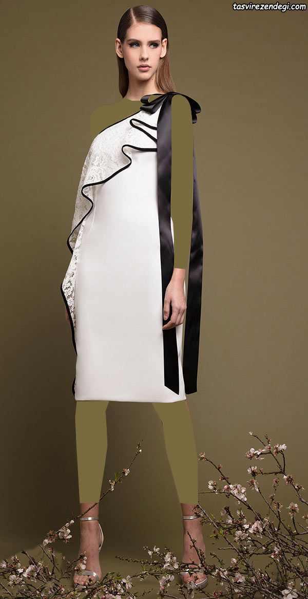لباس مجلسی رومی یونانی سفید مشکی